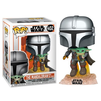 Funko POP figur Star Wars The Mandalorian Mando Flying med Jet Pack